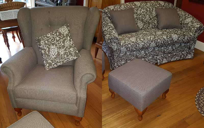 Reupholstery - Contrasting Lounge Suite